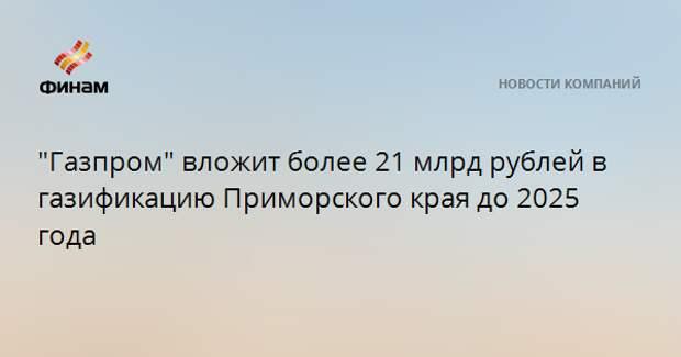 """""""Газпром"""" вложит более 21 млрд рублей в газификацию Приморского края до 2025 года"""