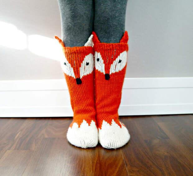 Носки для лисички вязание, новый год, подарки