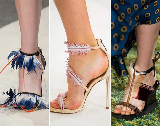 Обувь с элементами из перьев - тенденции весна-лето 2015