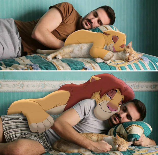 В обнимку со львом и домашним котом.