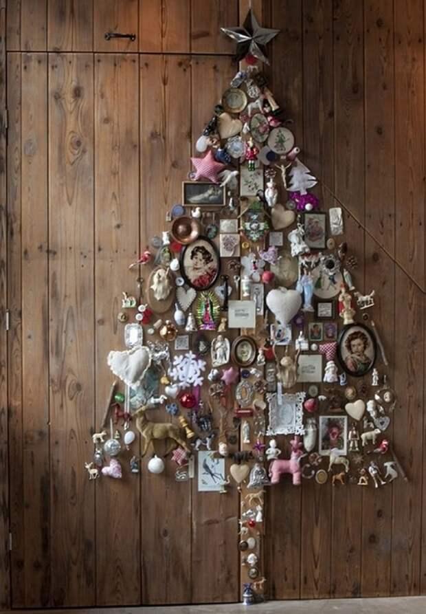 Крутой пример оформления стены в новогоднем исполнении.