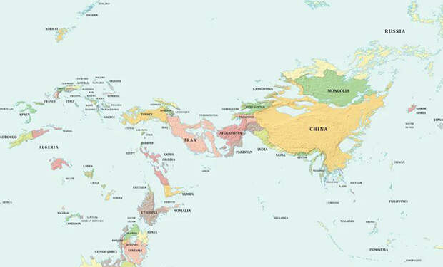 Карта мира, если уровень океана поднимется на 1 километр. От России останется только Кавказ и Алтай