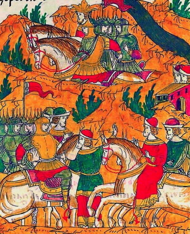 Гонец сообщает Шереметеву о переправе хана через Донец. Миниатюра из Лицевого свода, том 22