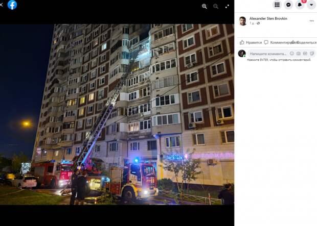 Пожар в квартире дома в Беринговом проезде достиг 50 квадратных метров