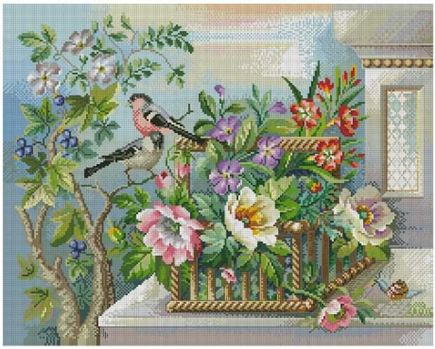 Цветочная корзина и птицы