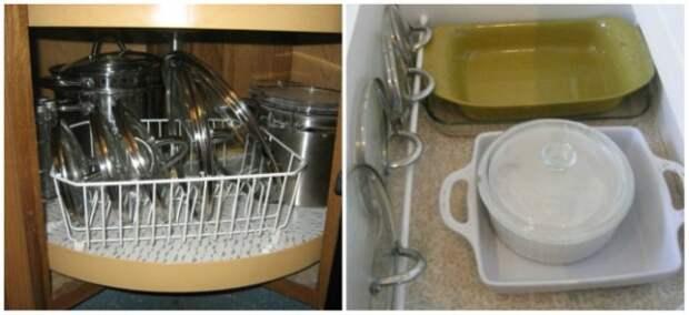 Сушилка для посуды или специальная небольшая штанга в ящике помогут решить проблему с вечно мешающими крышками