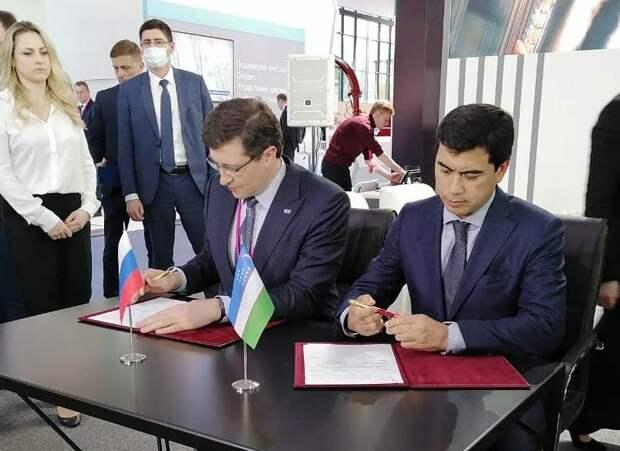 Глеб Никитин ихоким Ташкентской области Узбекистана Даврон Хидоятов подписали меморандум онамерениях межрегионального сотрудничества