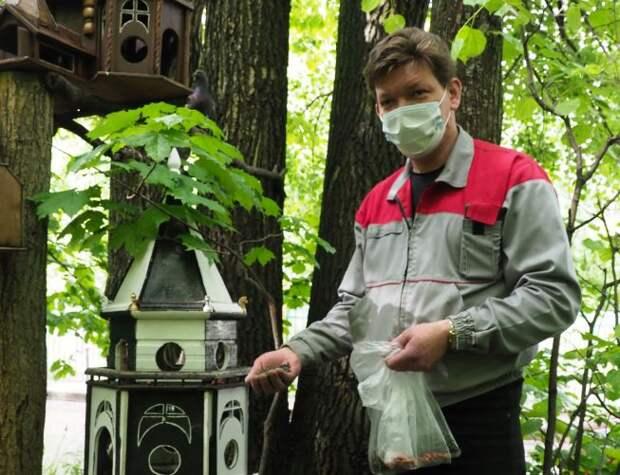 Плиточник из Митина мастерит «столовые» для птиц и белок