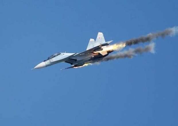 Опубликовано видео удара российского Су-30СМ по террористам в Идлибе
