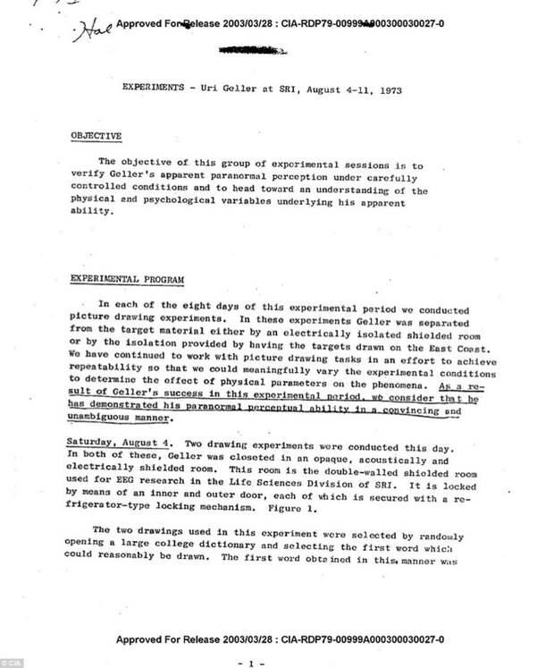 В опубликованных архивах ЦРУ нашлись описания экспериментов с Ури Геллером