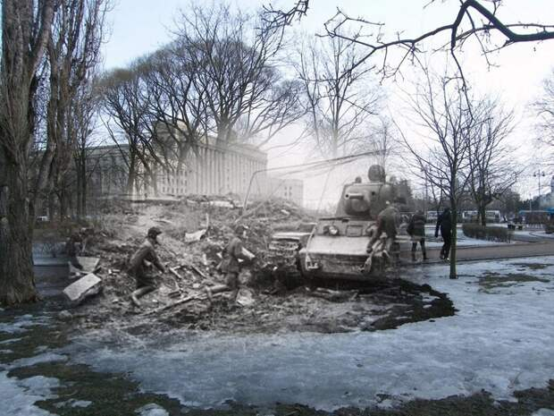 Ленинград 1942-2009 Московская площадь.Тяжелый танк КВ-1на боевой позиции. Подготовка к бою блокада, ленинград, победа