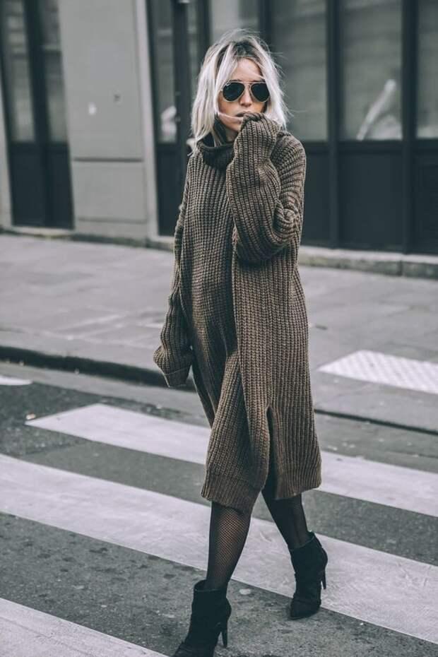 Со штанами или без: с чем носить платье-свитер