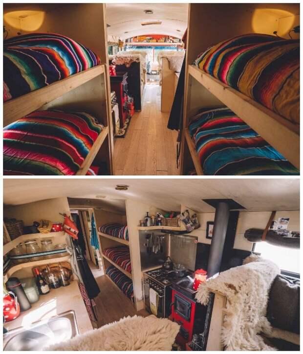 Интерьер хостела на колесах The Nomads Bus оформлен в минималистском стиле, что не мешает ему быть уютным.