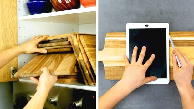 7 хитростей для порядка на кухне | Подставка для планшета, диспенсер для пакетов и другие