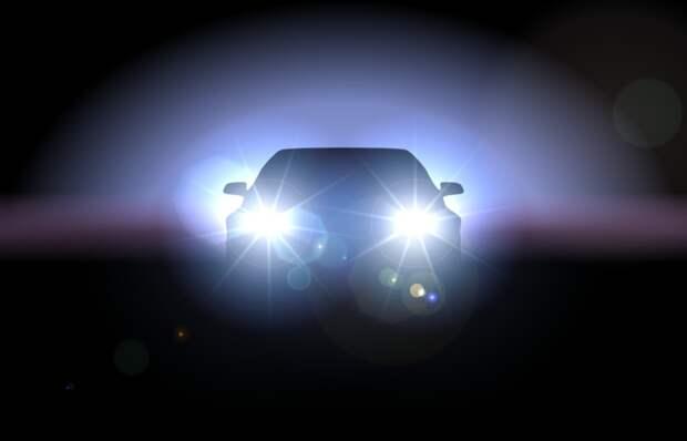 Освещение автомобиля зимой.