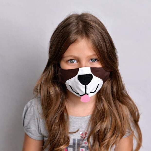 Щенячья маска для лица с фильтрующими карманами Puppy Kid Face Mask M-kids 7-12 y. o.