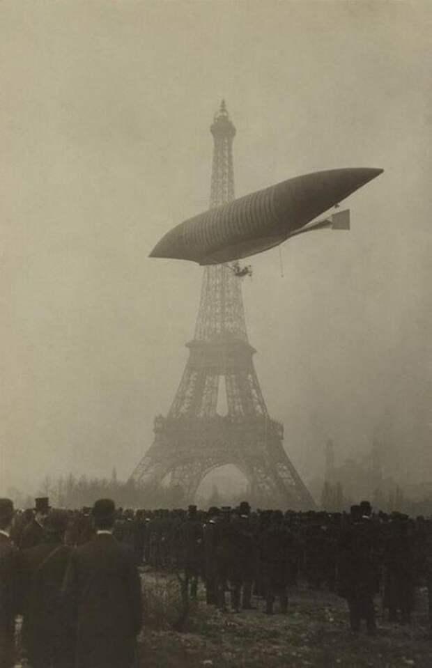 "Дирижабль Анри Жюльо ""The Yellow"" в Париже, ноябрь 1903 года. история, ретро, фото"