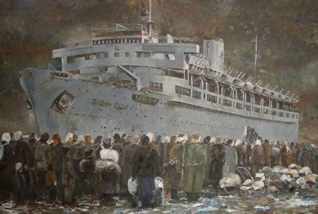 Беженцы вокруг лайнера./Фото: willich-nach-1945-flucht-und-vertreibung.de