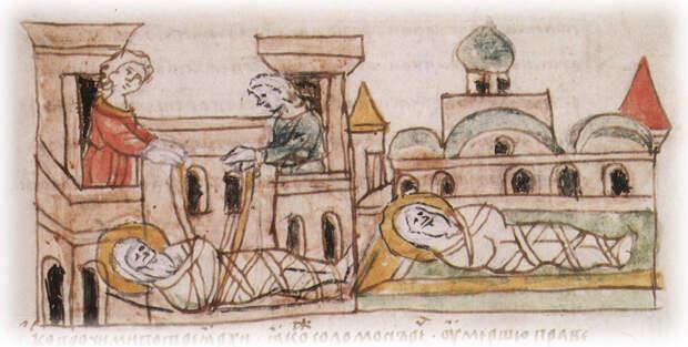 Тайное погребение князя Владимира в Берестове (Иллюстрация из открытых источников)