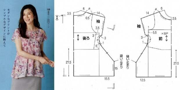 Простая выкройка оригинальной блузки