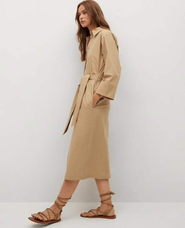 Бежевое платье-рубашка из хлопка Mango