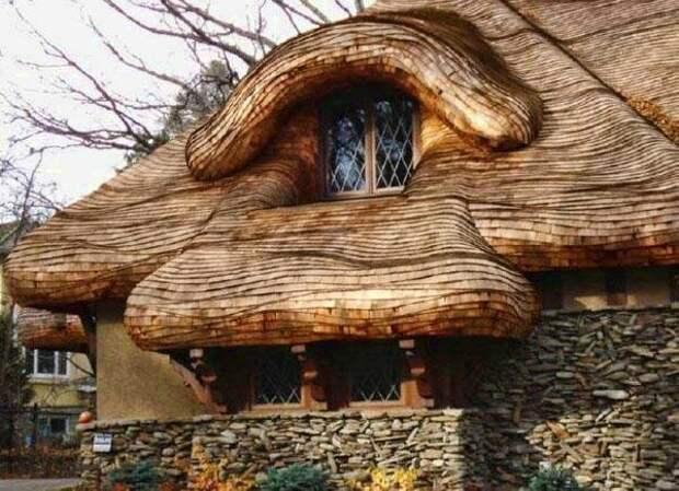 Из деревянных пластин Материалы, Фабрика идей, интересное, красиво, крыши, необычное, стройка