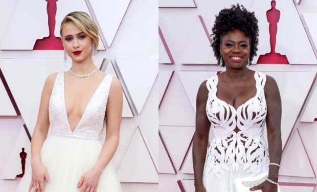 Оскар-2021: Мария Бакалова и Виола Дэвис в белом на дорожке премии
