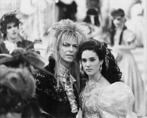 эвид Боуи и Дженнифер Коннелли на съёмках фильма «Лабиринт», 1986 год.