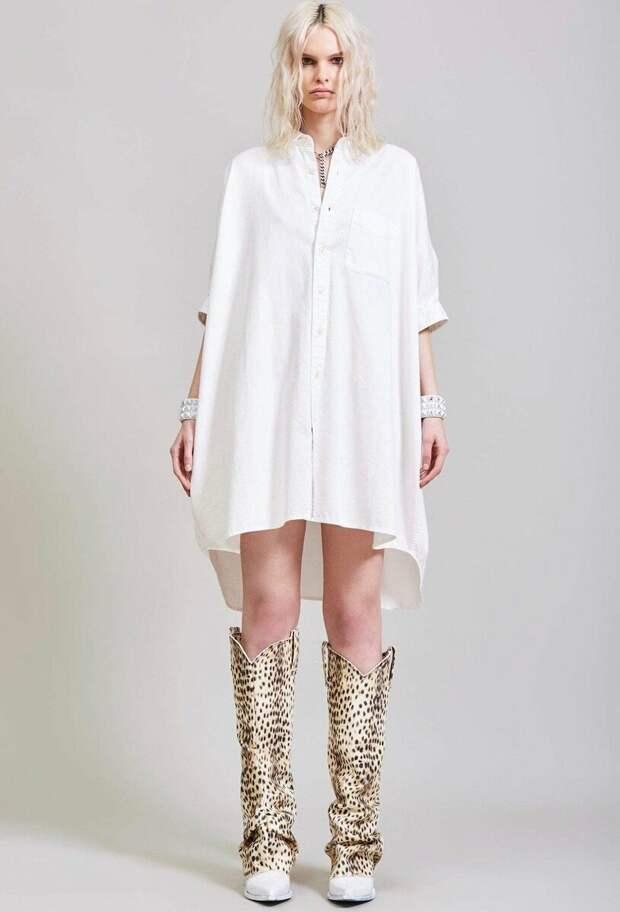 Белое платье прямого кроя R13 на пуговицах