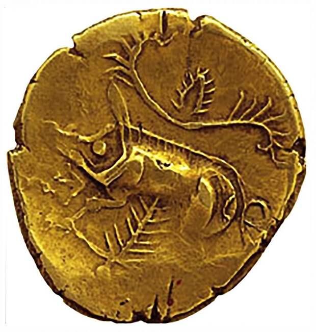 Галльская золотая монета с изображением кабана.