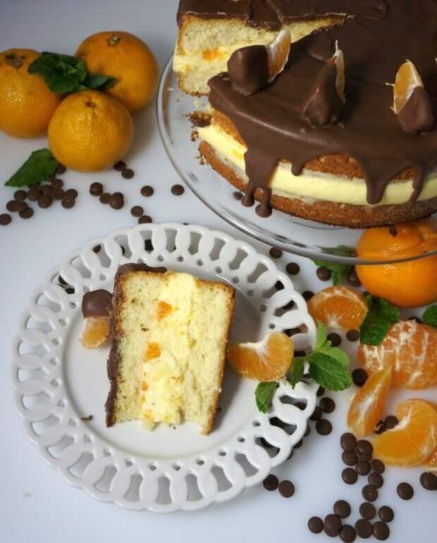 Торт с мандариновым муссом из 2х простых ингредиентов