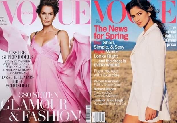 Синди Кроуфорд на обложках журналов 1994 и 2007 гг. | Фото: hellomagazine.com
