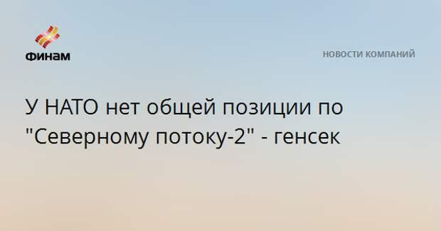 """У НАТО нет общей позиции по """"Северному потоку-2"""" - генсек"""