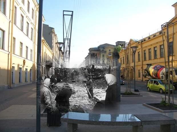 Ленинград 1941-2009 Улица Правды. Ленинградки строят укрепления. Идет подготовка к уличным боям блокада, ленинград, победа
