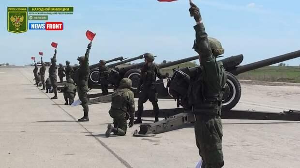 Подготовка артиллерийской салютной группы НМ ЛНР к параду Победы