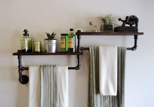 Полки в ванную комнату: фото, виды, материалы изготовления (78 фото)