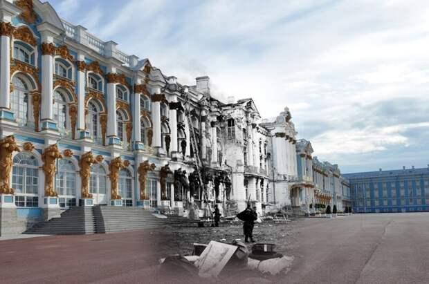 Пушкин 1941-2011 Екатерининский дворец. Немецкий солдат выносит добро из разоренного дворца блокада, ленинград, победа
