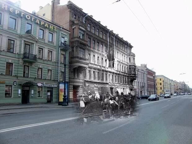 Ленинград 1941-2009 Невский проспект 119 - первый дом в который попала авиабомба блокада, ленинград, победа