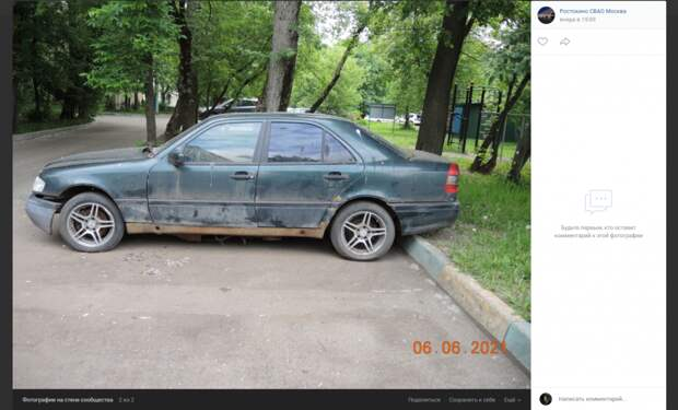 Брошенный автомобиль увезут с Кадомцева на стоянку временного хранения