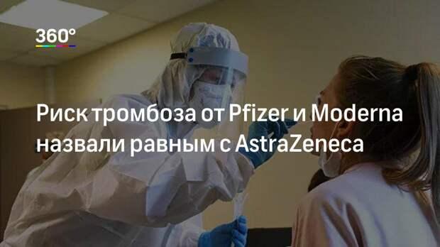 Риск тромбоза от Pfizer и Moderna назвали равным с AstraZeneca