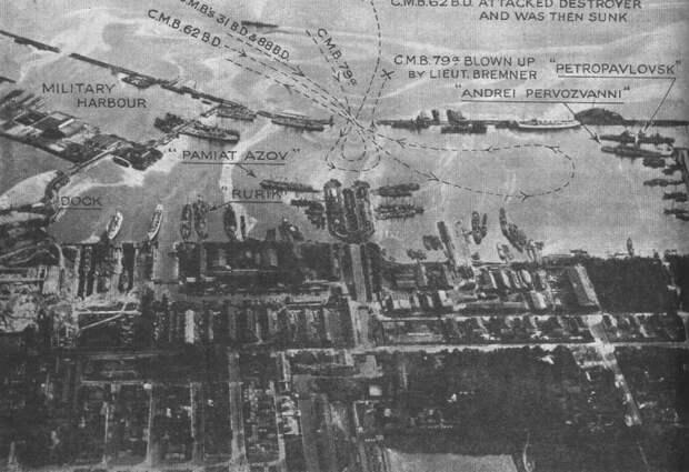 Английская аэофотосъемка Кронштадта со схемой атаки, август 1919 года.