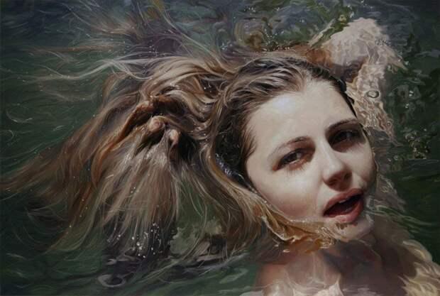 Мокрые девушки на чувственных картинах художницы Алиссы Монкс