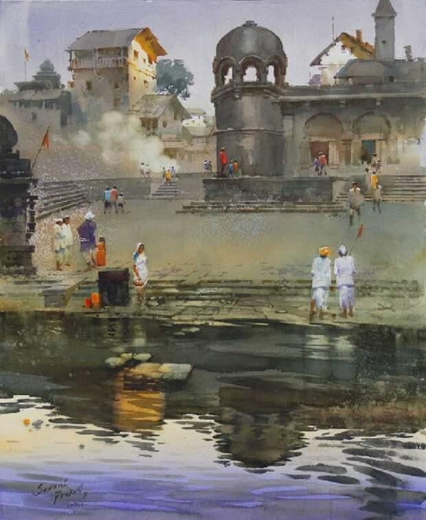 Акварели индийского художника  Прафула Саванта.