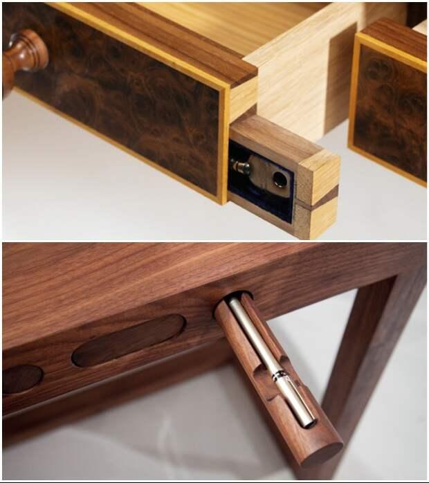 Любые деревянные детали мебели можно переоборудовать так, что и сам можешь забыть, где спрятал бабушкины драгоценности.