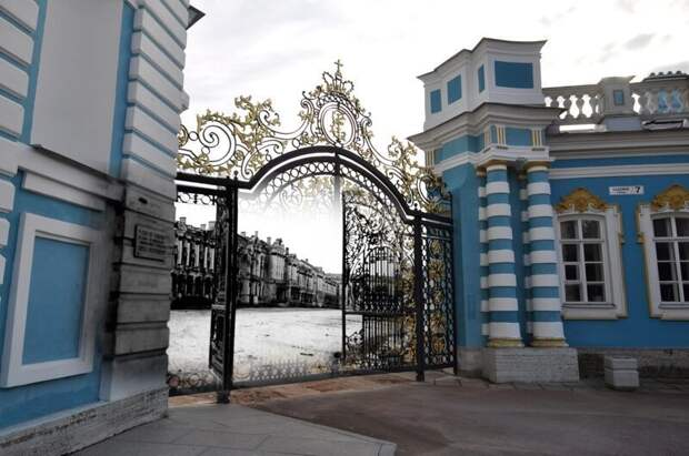 Пушкин 1942-2011 Ворота Екатерининского дворца блокада, ленинград, победа