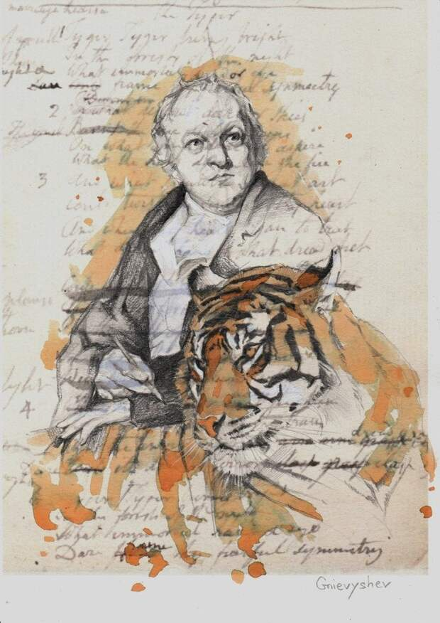 """Уильям Блейк"" 30 х21 см карандаш и чай Автор: Gnievyshev"
