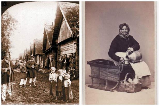 Деревня и ее жители, а также крестьянка, собравшаяся на рынок Крестьяне, россия, старые фото