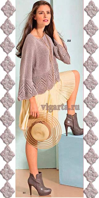 Пуловер со связанными поперек планками