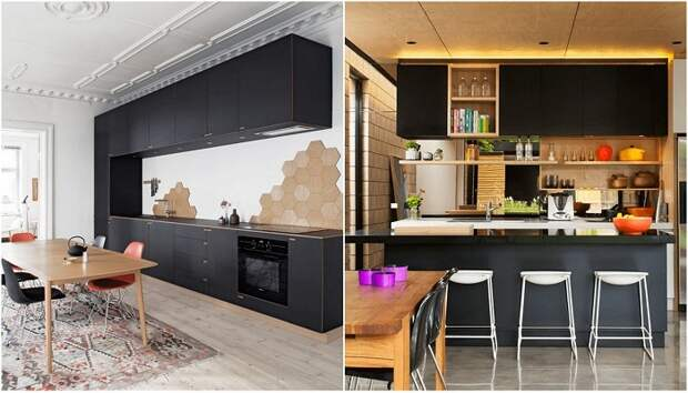 Безумно креативные идеи декора кухонь в черном цвете.