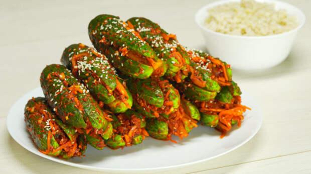 Корейская закуска кимчи из огурцов